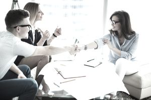 Woman meeting team at job interview