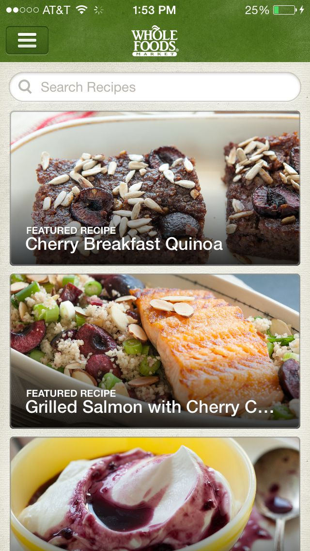 Whole Foods Recipes app