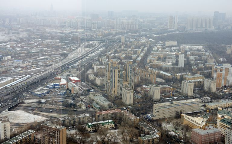 Aerial view of Moscow's suburb