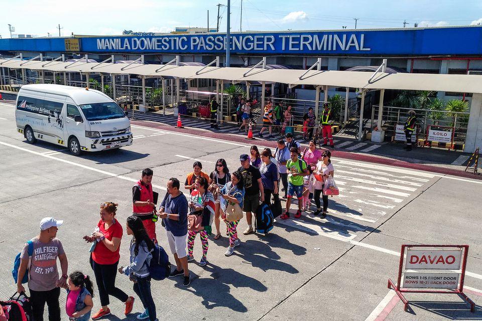 Boarding Queue on NAIA Terminal 4 tarmac, Manila, Philippines