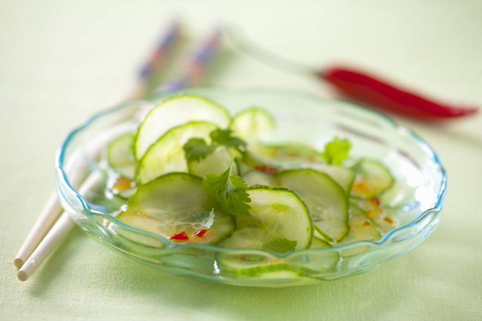 Cucumber salad with chilli dressing