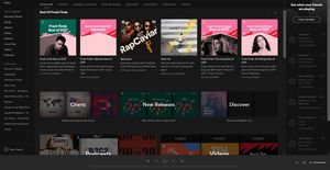 The browse section of Spotify Free