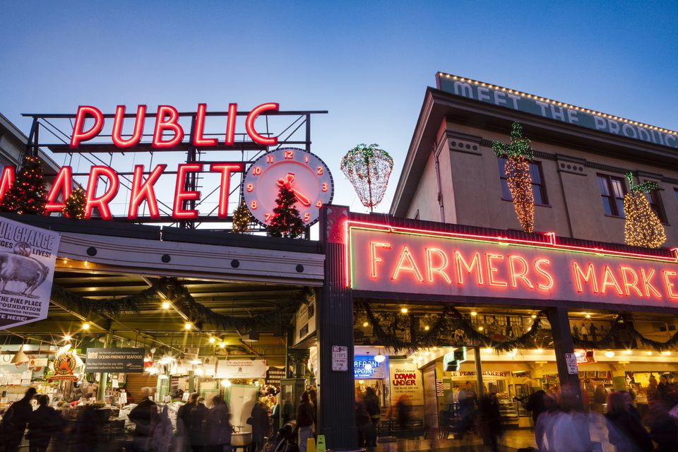 Pike Place Market at Christmastime, Seattle, Washington, USA