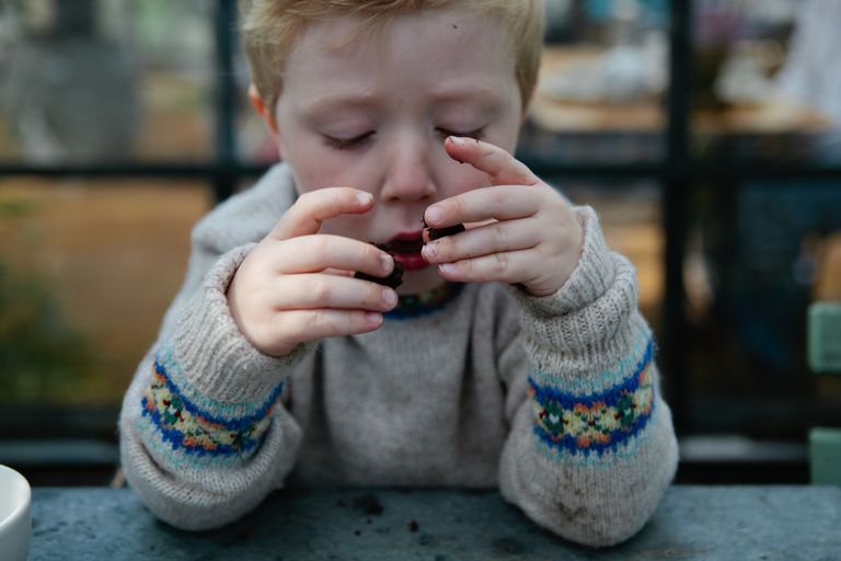 Young boy in a cafe