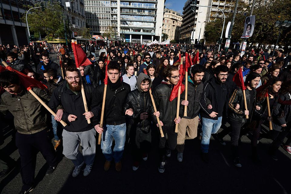 Students march during a union strike in Athens.