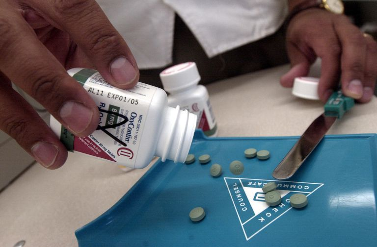 The prescription medicine OxyContin is displayed August 21, 2001 at a Walgreens drugstore in Brookline, MA.