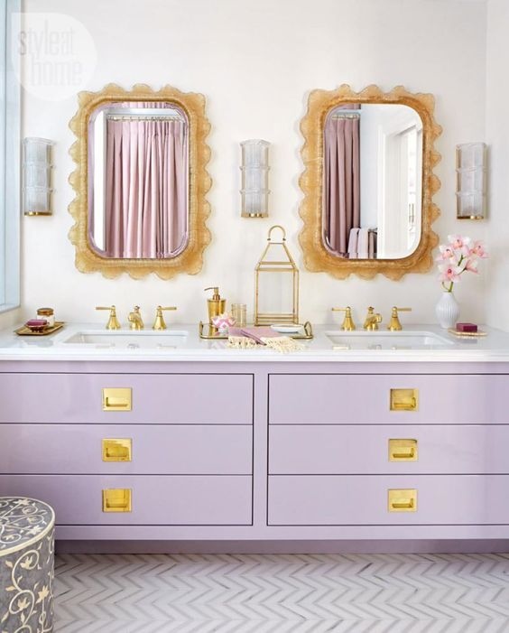 Bathroom vanity in cool lilac shade
