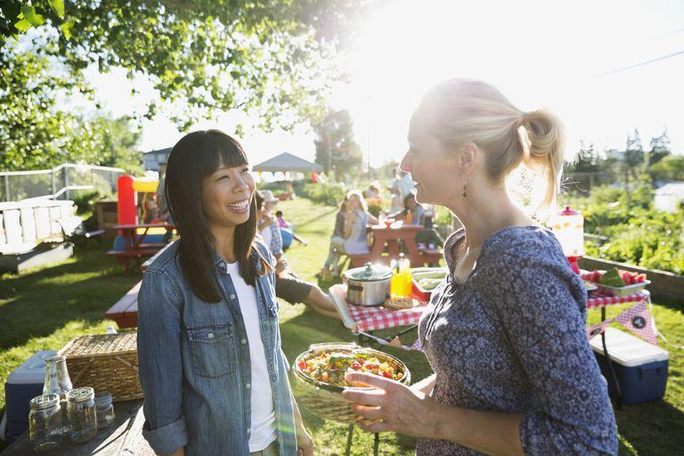 Women talking at picnic