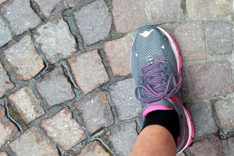 Cobblestone Street and Cushioned Shoe