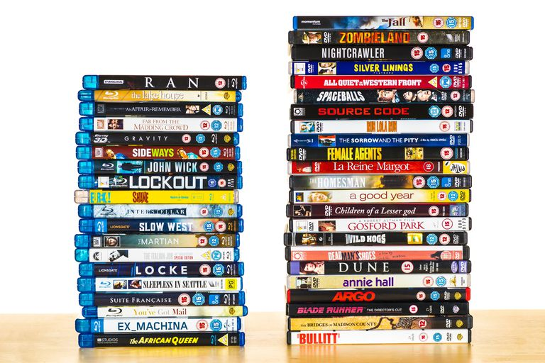 Movies in Bluray and DVD stacks