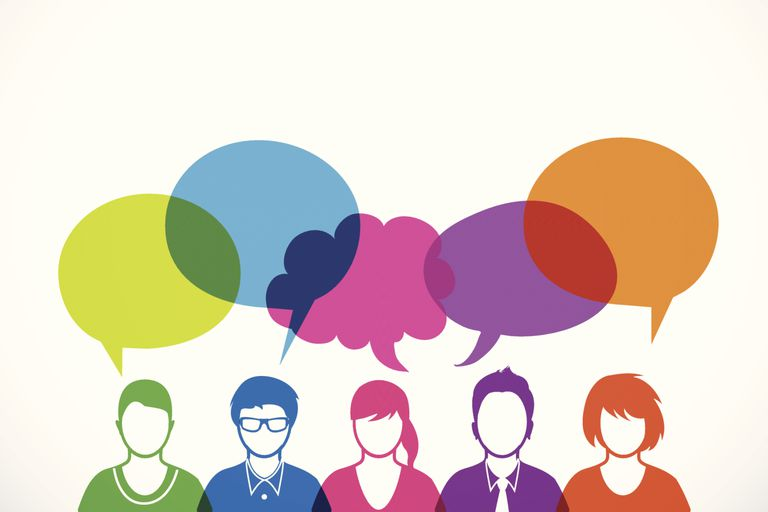 colorful people and dialog speech bubbles