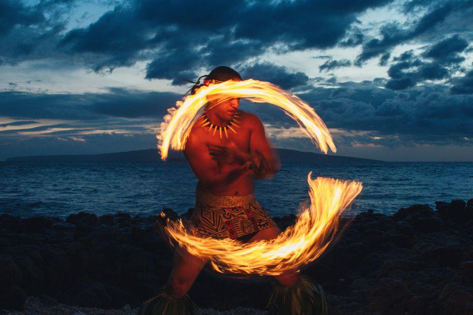Fire dancer at Marriott Wailea on Maui, Hawaii