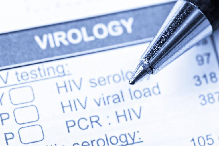 Close up of pen on Virology form ordering HIV/AIDS tests