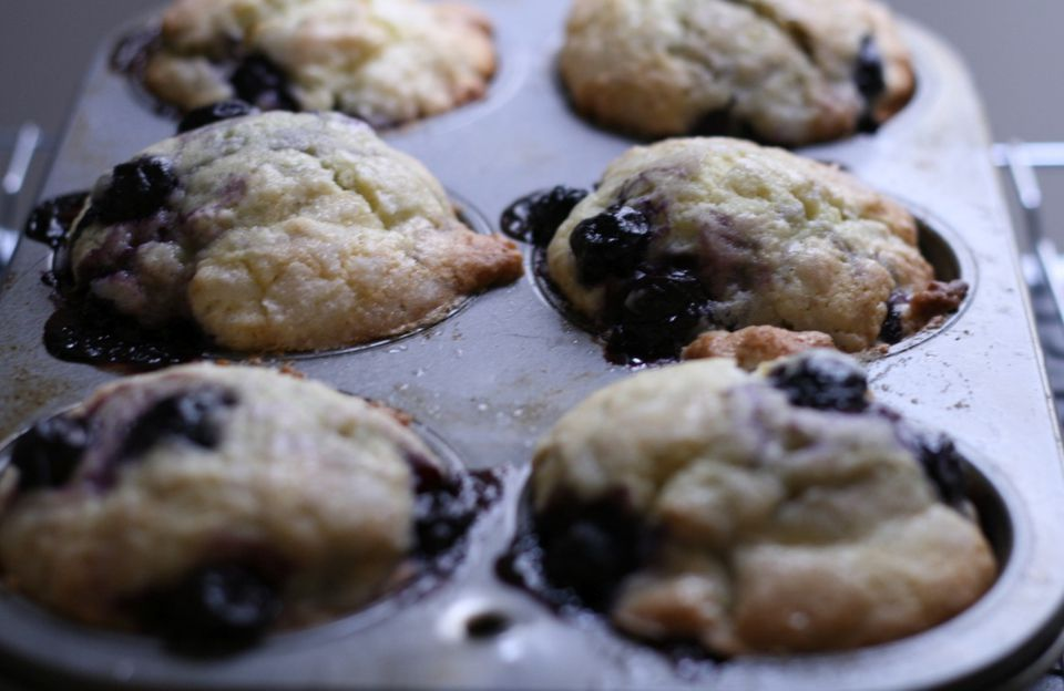 Homemade blueberry muffins in a pan