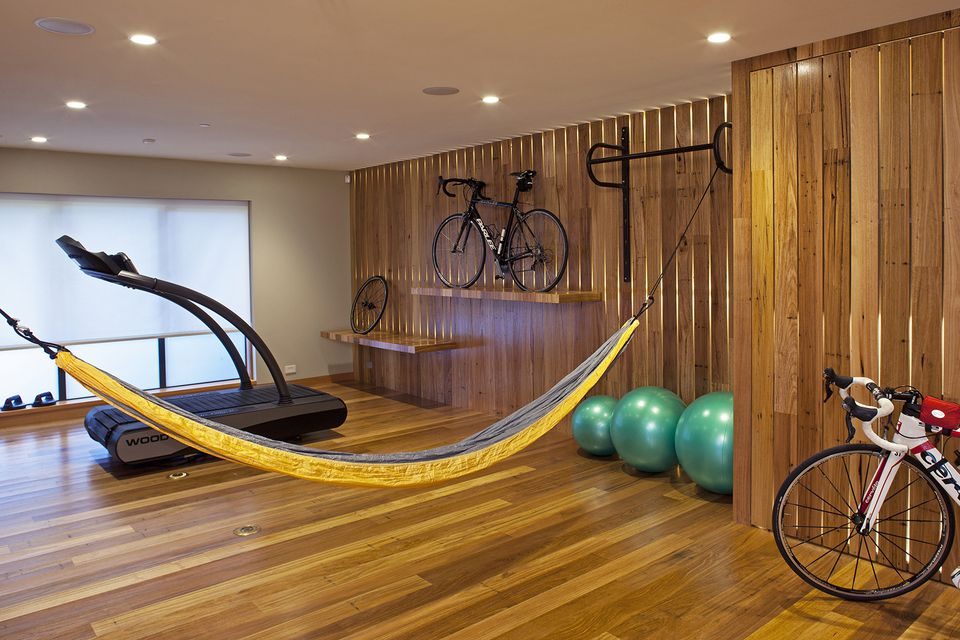 bike, hammock and treadmill in home gym