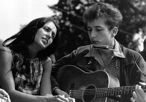 Folksingers Joan Baez and Bob Dylan at a Civil Rights Rally in Washington, D.C. (1963)