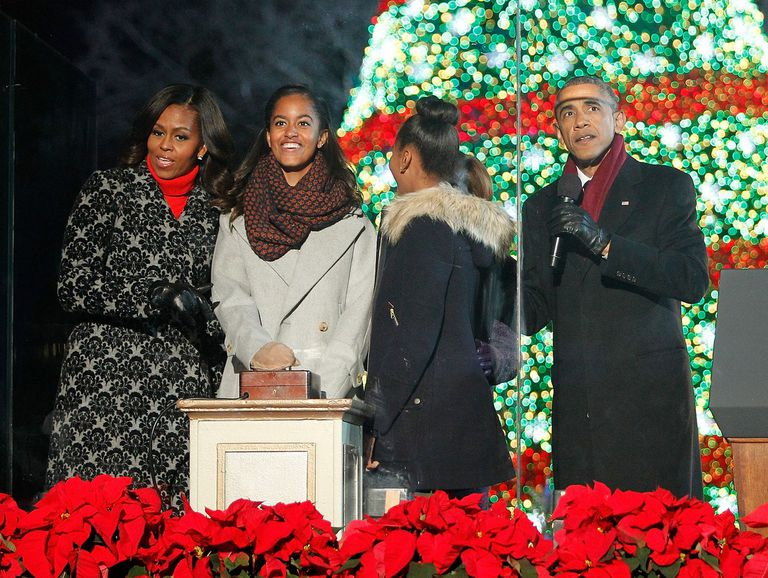 President Obama and First Family lighting the national Christmas tree
