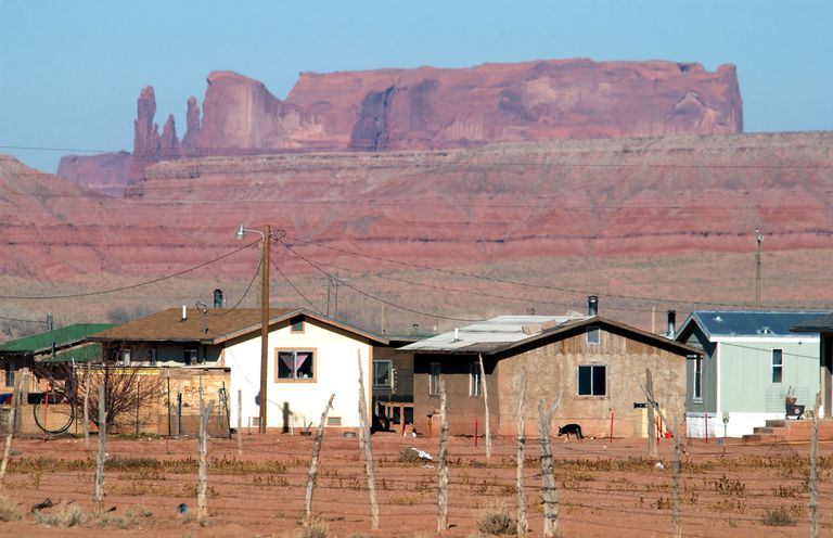 Dilapidated homes on the Navajo Nation Indian reservation