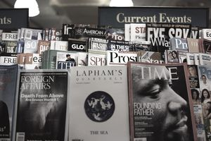 A picture of a magazine newsstand