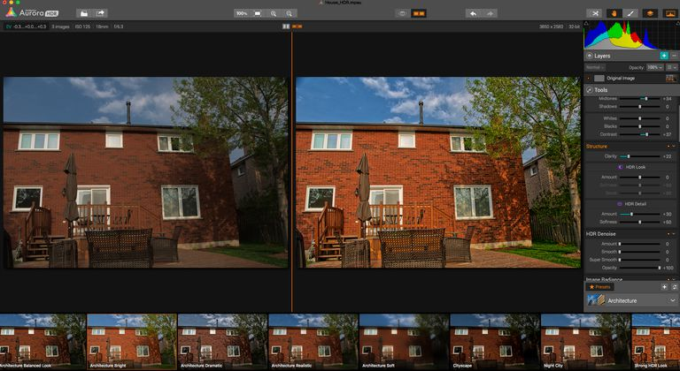 The Aurora HDR Pro Interace is shown with a side-by-side view of the before and after images.