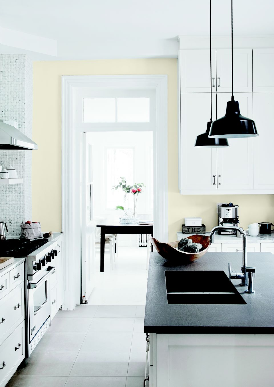 Kitchen cabinets painted Glidden Cappuccino White