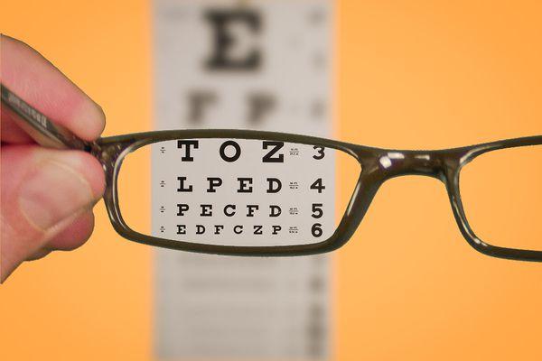 Vision Of Eyechart With Glasses. Shot for SeniorLiving.Org