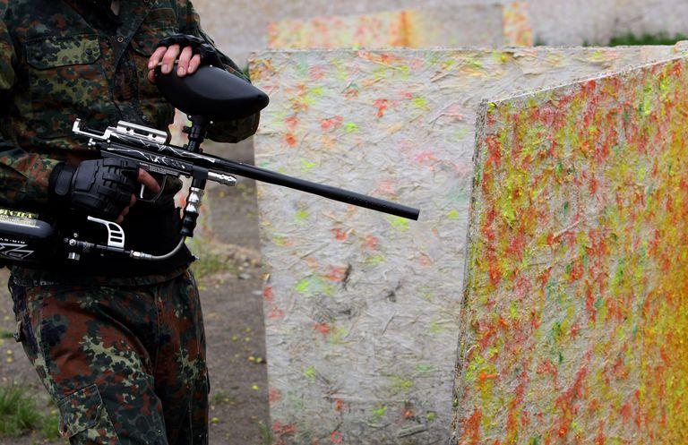 man with paintball gun