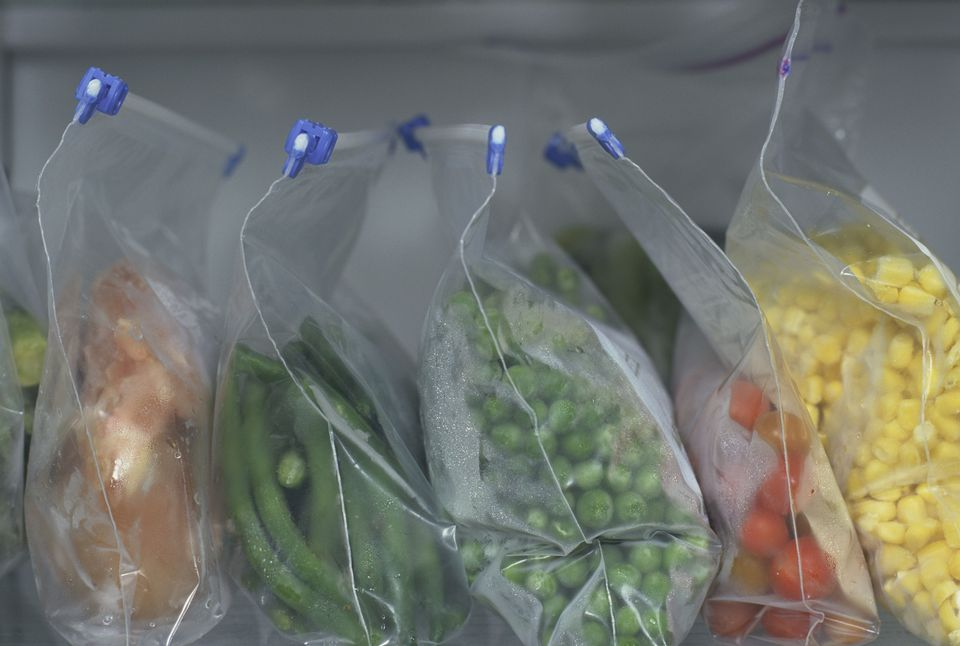 Frozen vegetables in a freezer