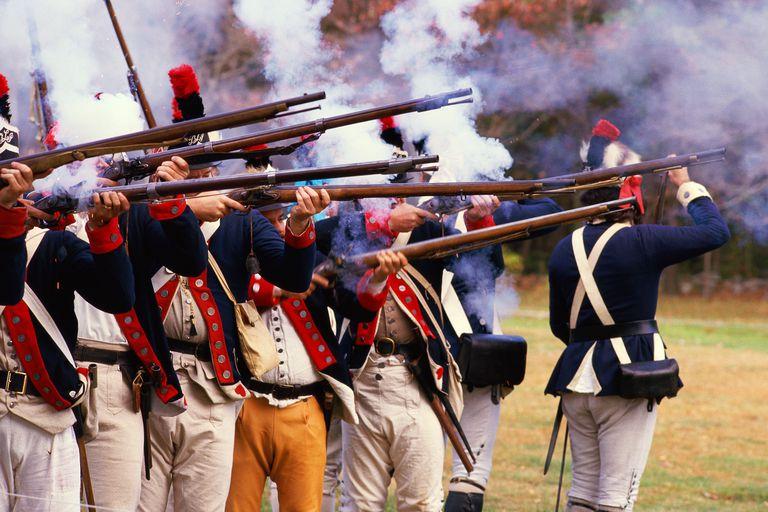 Reenactment of Revolutionary war soldiers