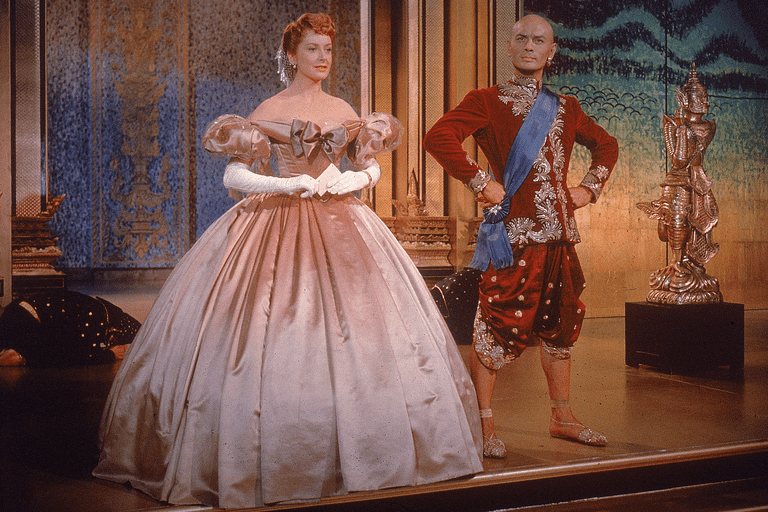 Yul Brynner and Deborah Kerr in costumes from The King and I, 1956