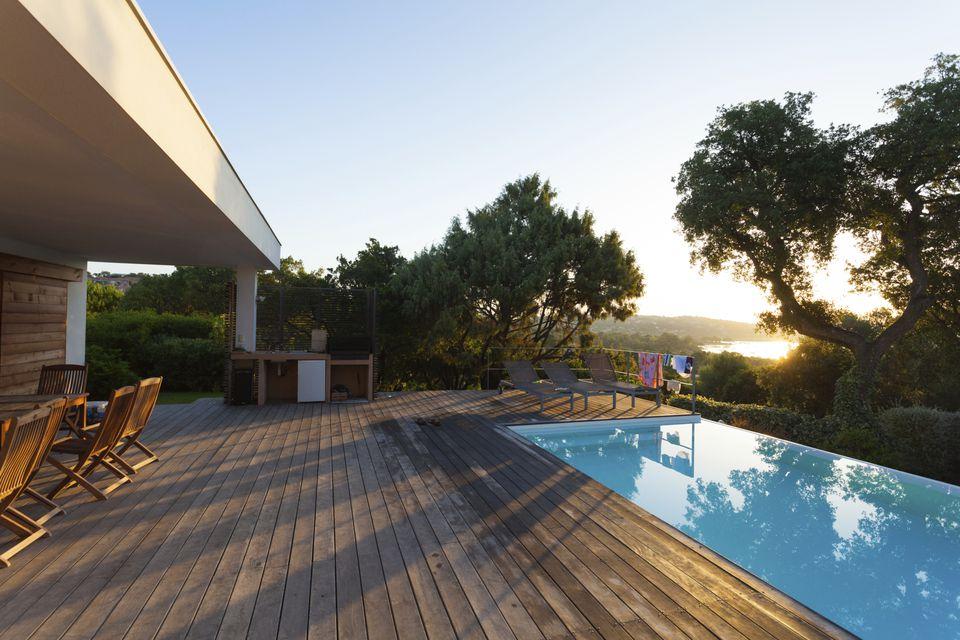 Wood deck near swimming pool