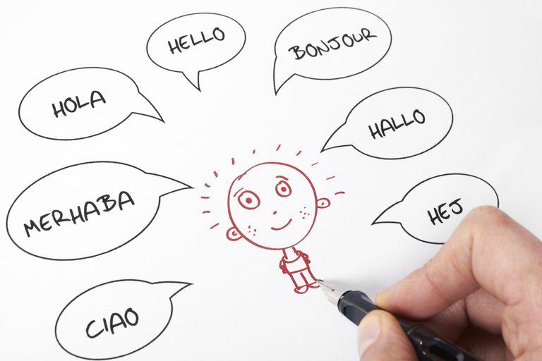 Dibujo con la expresión hola en diferentes idiomas