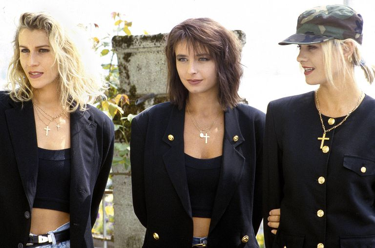 British pop group Bananarama in 1987 at the Montreux Pop Festival (l to r Sara Dallin, Keren Woodward and Siobhan Fahey).