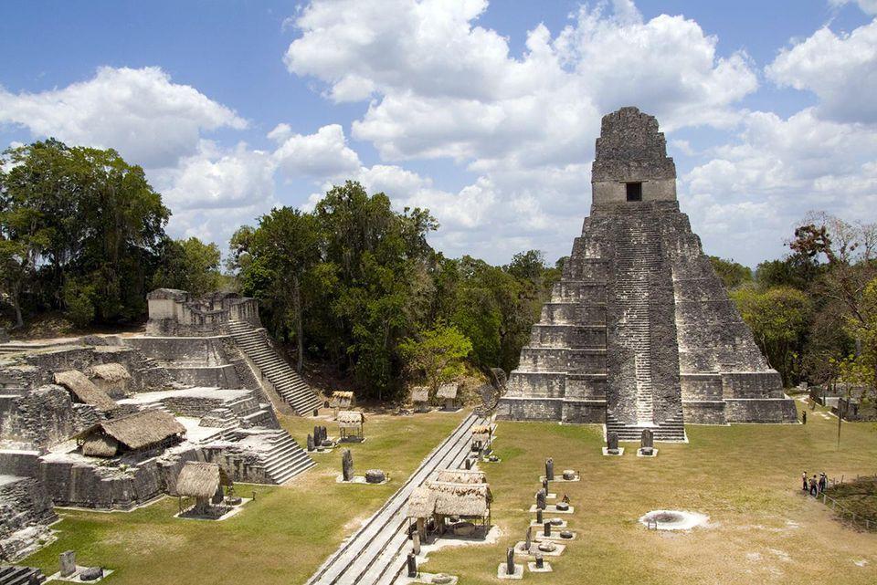 Guatemala, Tower 1 At Gran Plaza, Tikal Guatemala, Mayan Ruins.