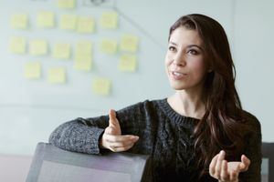 Woman discussing ideas and strategy