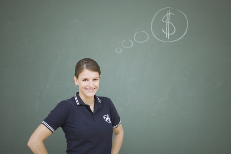 Young student standing next to a thought balloon with a dollar sign