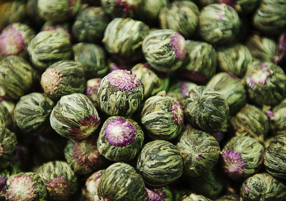 Close up of Jasmine tea in the spice Bazaar