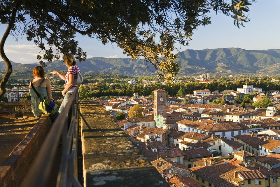 Lookout tower Guinigi and view of Lucca, Tuskany, Italy