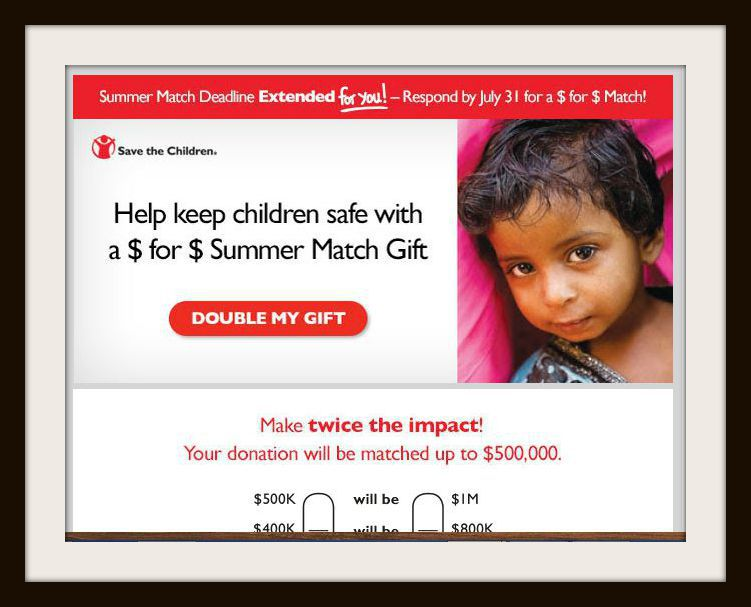 Save the Children raises funds with a matching gift appeal.