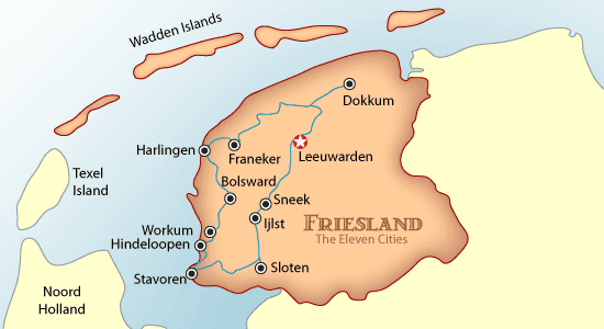 friesland, the netherlands, friesland map