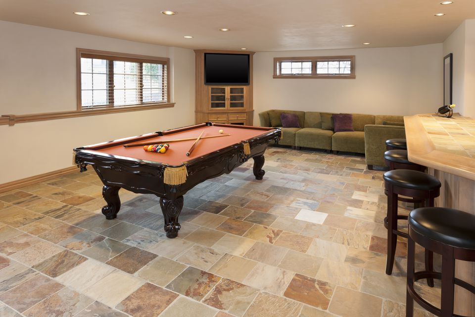 Basement ceramic tile floors