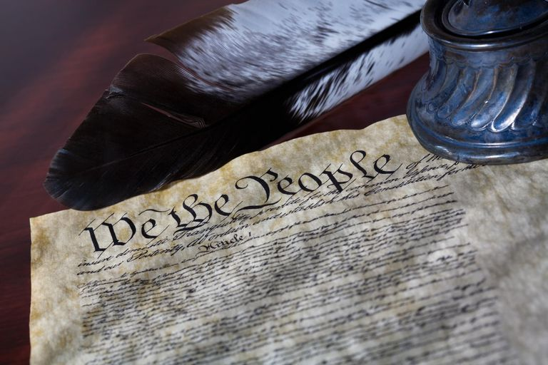 US Constitution with a quill pen and inkwell