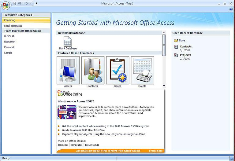 create a microsoft access 2007 database using a template
