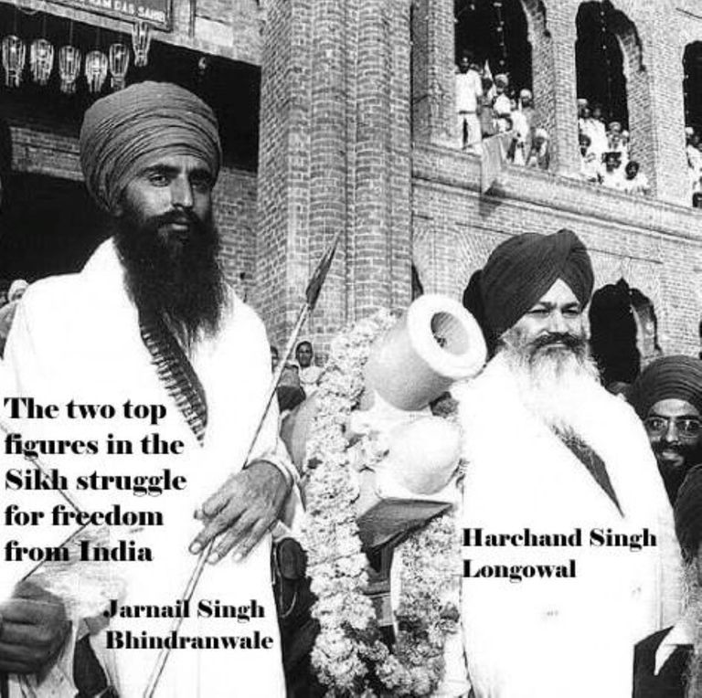 Bhindranwale and Longowal Two Top Figures in Sikh Struggle for Freedom from India