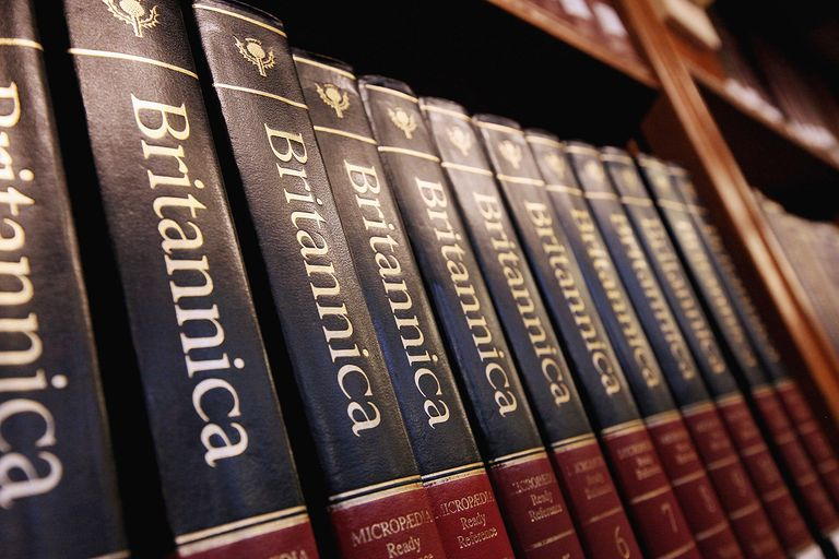 Encyclopedia Brittanica on a bookshelf