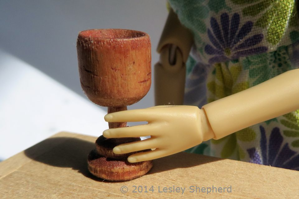 Treen goblet in 1:12 dollhouse scale.