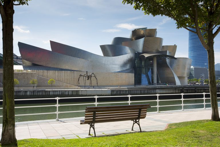 The Guggenheim Museum in Bilbao, Spain by architect Frank Gehry.