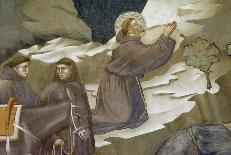 St Francis of Assisi, detail from Miracle of the Spring, fresco, Saint Francis cycle by Giotto (ca 1267-1337), Upper Basilica of St Francis (UNESCO World Heritage List, 2000), Assisi, Umbria, Italy