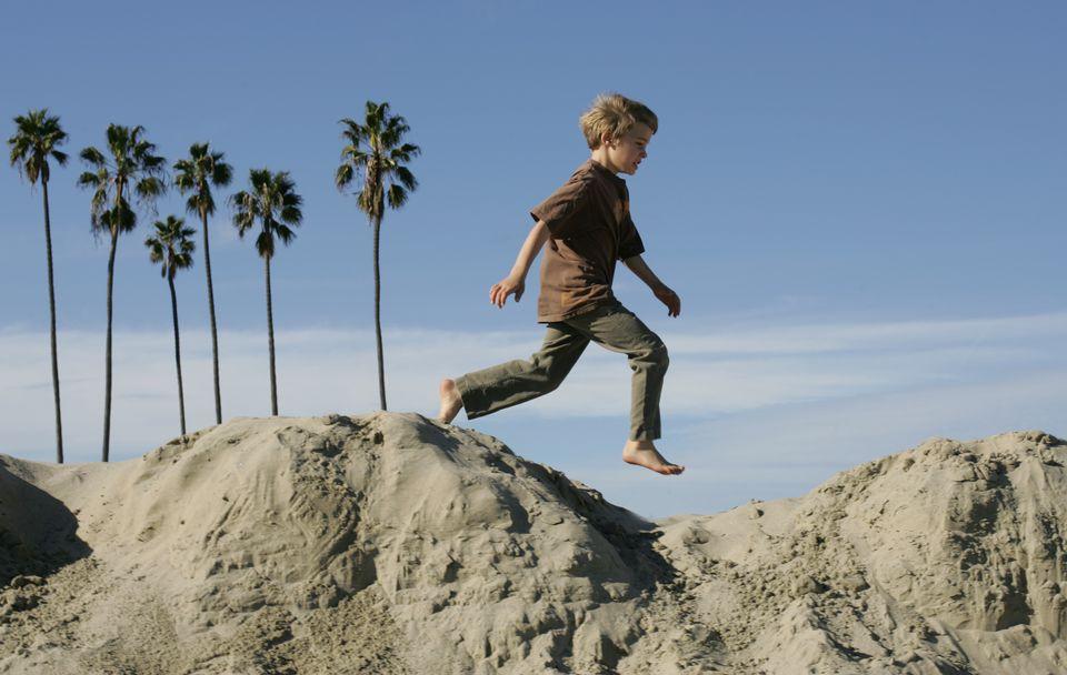 Kid playing at East Beach, Santa Barbara