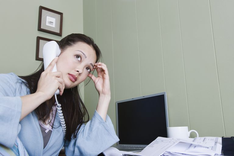 Woman on the phone at home